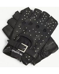 The Kooples - Studded Fingerless Leather Gloves - Lyst