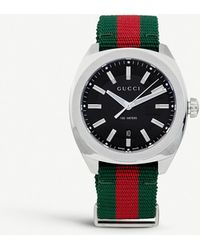 Gucci Ya142305 GG2570 Stainless Steel And Nylon Watch - Black