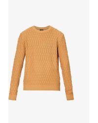Oscar Jacobson Mens 474 Fisherman Cable-knit Cotton Jumper L - Orange