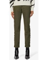 Zadig & Voltaire Pomelo Side-striped Slim-fit Cotton-blend Trousers - Green