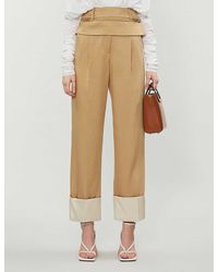 Christopher Esber Cuffed Straight-leg High-rise Twill Pants - Natural