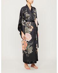 Meng Floral-print Silk Kimono - Black