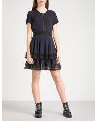 Maje - Raglia Crepe And Lace Dress - Lyst