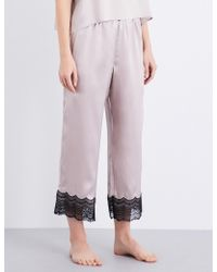 Nk Imode - Lace-detailed Silk-satin Pyjama Trousers - Lyst