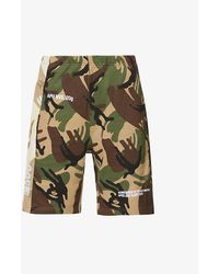 Aape Camouflage And Logo-print Relaxed-fit Cotton-blend Shorts - Green