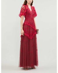 Needle & Thread Elsa V-neck Gown - Red