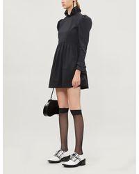 BATSHEVA Prairie Puffed-sleeve Cotton-poplin Mini Dress - Black
