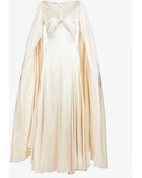 Cult Gaia Shaine Cape-sleeved Silk-satin Gown - Natural
