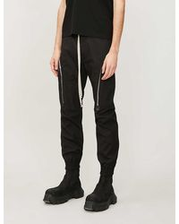 Rick Owens Dropped-crotch Relaxed-fit Tapered Stretch-cotton Pants - Black