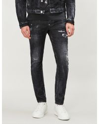 DSquared² - Embellished Distressed Skinny Jeans - Lyst