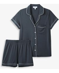 The White Company Classic Stretch-modal Pyjama Set - Grey
