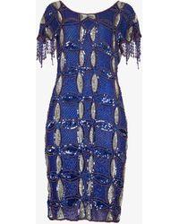 Beyond Retro Pre-loved Bead-embellished Silk Mini Dress - Blue