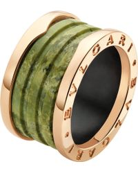 BVLGARI - B.zero1 Four-band 18kt Pink-gold And Green Marble Ring - Lyst