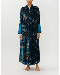 Olivia Von Halle Capability Torment Floral-print Velvet Robe - Blue