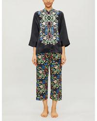 YOLKE Aimee Anaïs-print Silk Pajama Set - Black