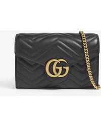 Gucci GG Marmont Leather Wallet On Chain - Black