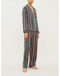 Chinti & Parker Navy Striped Silk Pyjama Set - Blue