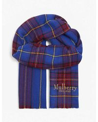 Mulberry Wool Check Scarf - Blue