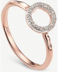 Monica Vinader Riva Mini Circle 18ct Rose-gold Vermeil And Diamond Stacking Ring - Metallic