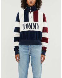 Tommy Hilfiger Branded Striped Fleece Sweatshirt - Blue
