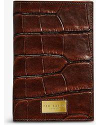 Ted Baker Doorbel Crocodile-embossed Leather Passport Holder - Brown