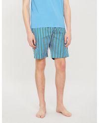 Derek Rose Elite Striped Relaxed-fit Cotton Shorts - Blue