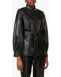 Samsøe & Samsøe Vestine Puffed-sleeve Faux-leather Jacket - Black