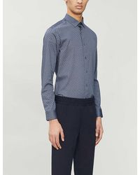 Ted Baker Graphic-print Regular-fit Stretch-cotton Shirt - Blue