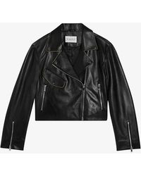 Claudie Pierlot Short Leather Biker Jacket - Black