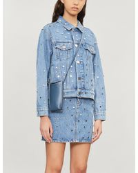 Sandro Mirrored Stud-embellished Denim Skirt - Blue
