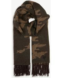 The Kooples - Camouflage Print Fringed Wool-blend Scarf - Lyst