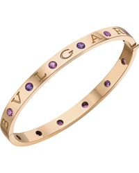 BVLGARI - - 18ct Pink-gold And Jewelled Bracelet - Lyst