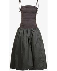 Amy Lynn Alexa Bandeau-neck Stretch-cotton Midi Dress - Black