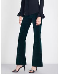 Rockins Ladies Flared Classic High-rise Velvet Jeans - Blue
