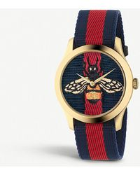 Gucci - Ya1264061 G-timeless Yellow Gold-plated Stainless Steel And Canvas Watch - Lyst