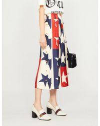 Gucci - Star-pattern High-rise Silk-twill Culottes - Lyst