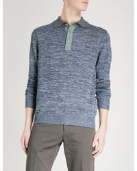 Paul Smith - Knitted Cotton And Linen-blend Polo Jumper - Lyst