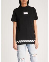 Mini Cream - Checkerboard Cotton-jersey T-shirt - Lyst