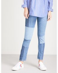 Sandro Patchwork-detail Skinny High-rise Jeans - Blue