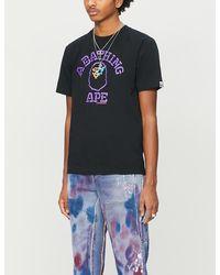 A Bathing Ape University Neon Logo-print Cotton-jersey T-shirt - Black
