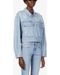 Givenchy Distressed Cropped Denim Jacket - Blue