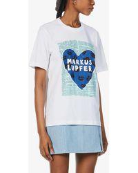 Markus Lupfer - Alex Heart Collage Organic-cotton Jersey T-shirt - Lyst