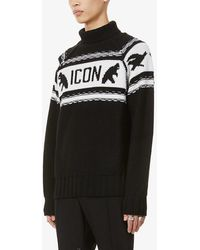 DSquared² Icon Brand-pattern Turtleneck Wool Sweater - Black