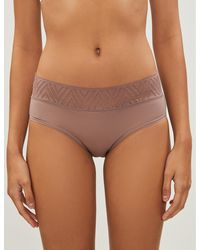 THINX Hiphugger Lace And Organic Stretch-cotton Briefs - Natural
