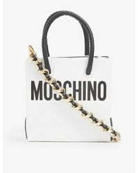 Moschino Logo-print Mini Leather Shopper Bag - White