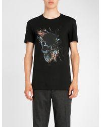 Alexander McQueen - Painted Skull-print Cotton-jersey T-shirt - Lyst