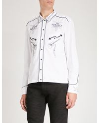 The Soloist Rock'n'roll-embroidery Cotton And Silk-blend Shirt - White