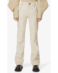 Bottega Veneta Wide-leg High-rise Cotton-twill Jeans - Natural