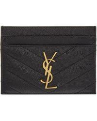 Saint Laurent Monogram Quilted Leather Card Holder - Black