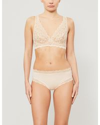 Hanro - Moments Soft-cup Stretch-lace Triangle Bra - Lyst